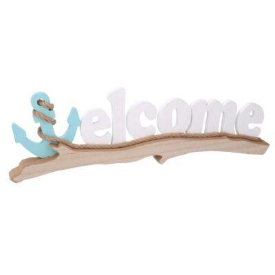 SCRITTA LEGNO MARE WELCOME BIANCO CM48X3 H14,5