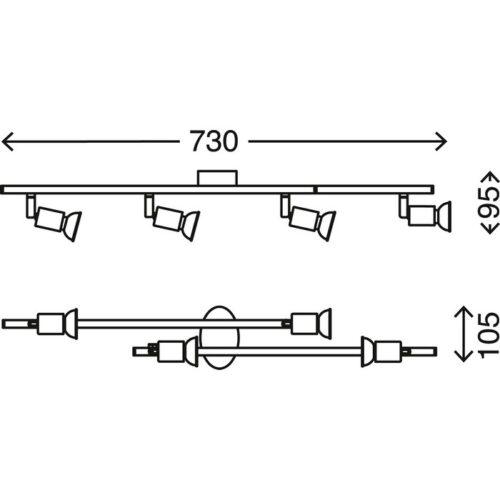 SIMPLE - ARCO 4L X 3W GU10 LED 250LM NICKEL SATINATO